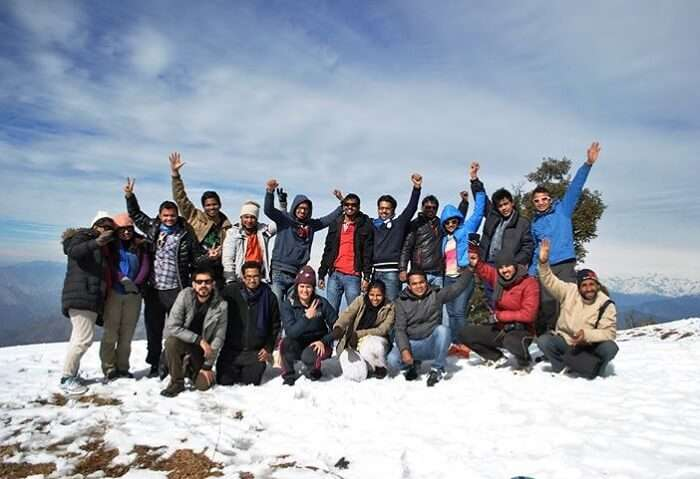 A joyful group at the top of the Nag Tibba Summit