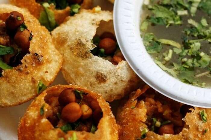 A plate of the yummy Paani Puri
