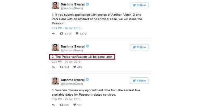 tweets of Sushma Swaraj on Passport