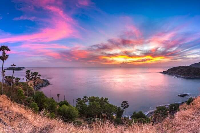 A view of the sunset at Promthep Cape in Phuket