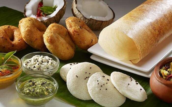 A south Indian platter with idli-vada-dosa and the various chutneys