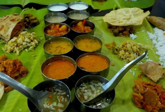 A typical thali of the local cuisine in Munnar