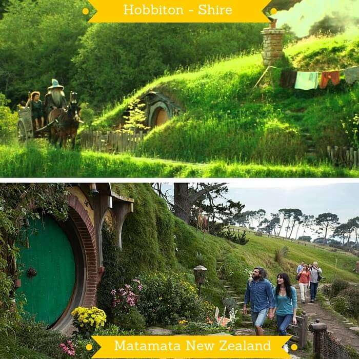 A shot from the Hobbit trilogy of the Shire and the Matamata where Hobbiton set was made