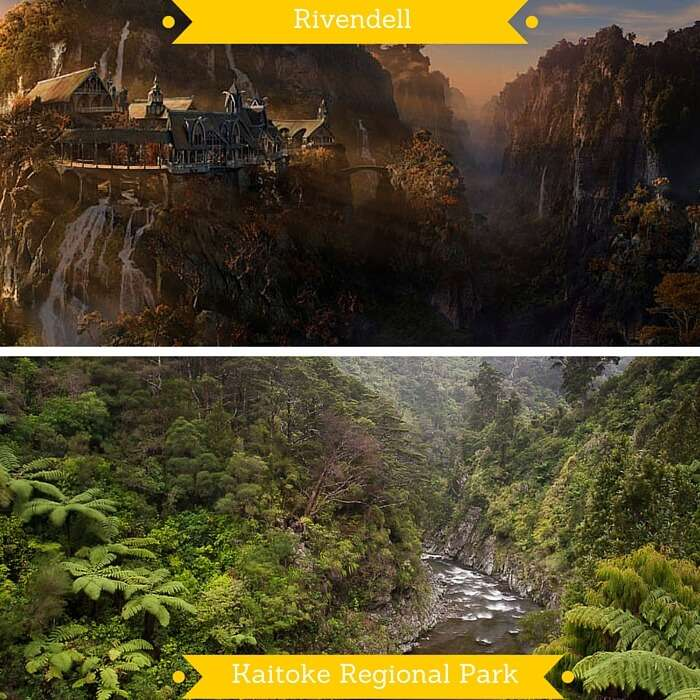 A shot of Rivendell and the Kaitoke Park used as background setting for the film shots