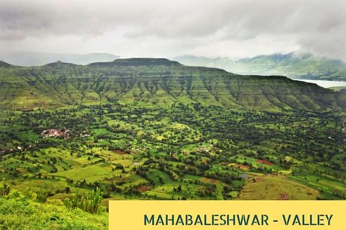 An aerial view of the green valley and tropical highlands at Mahabaleshwar during rains