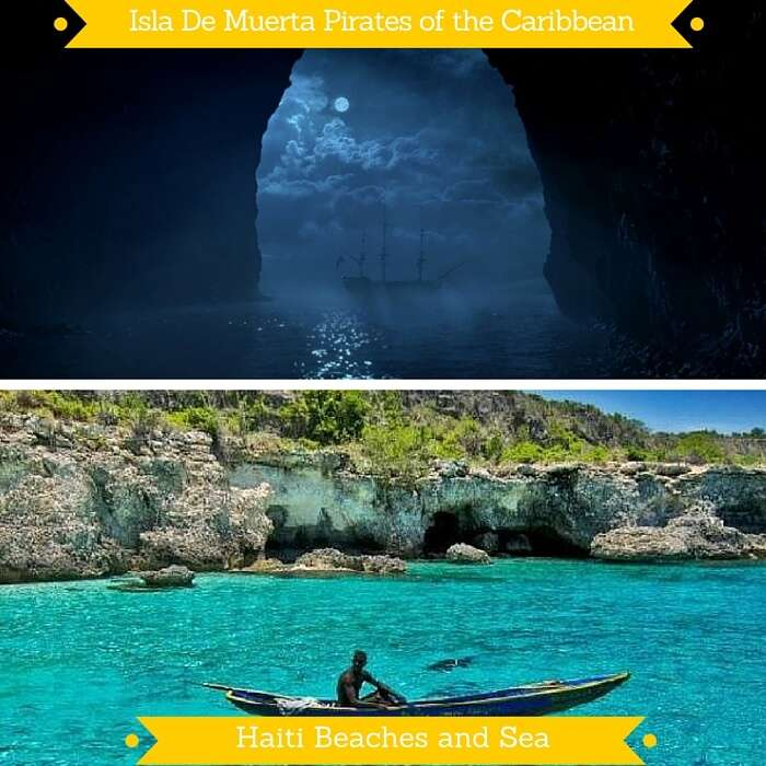 The Isla De Muerta from Pirates of the Caribbean and the Haiti islands that appear similar
