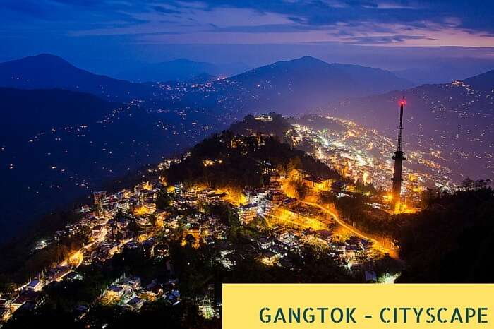 An bird-eye view of the cityscape of the Gangtok city at night