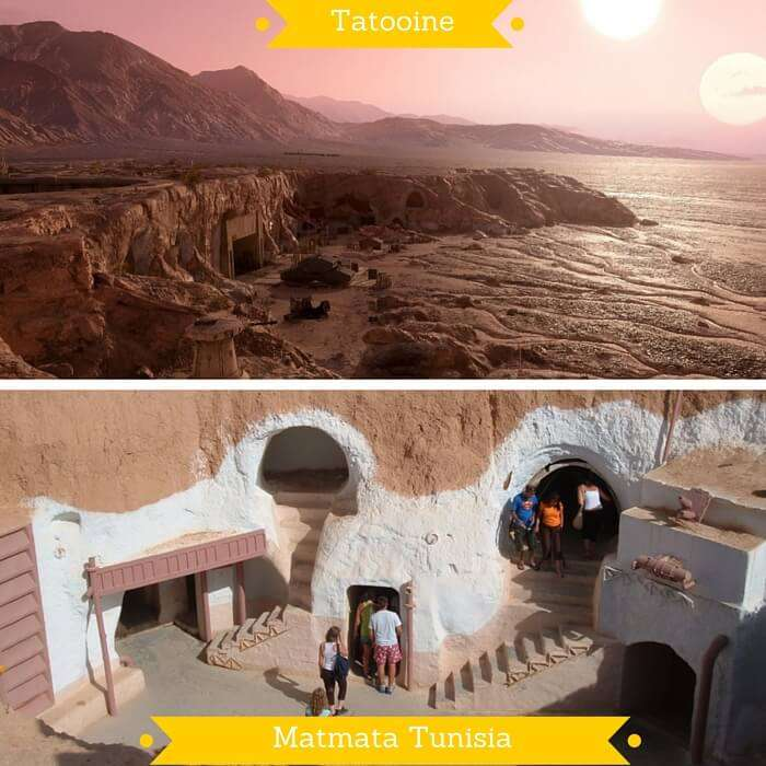 Tatooine planet from Star Wars Saga and the imitation hotel at Matmata in Tunisia