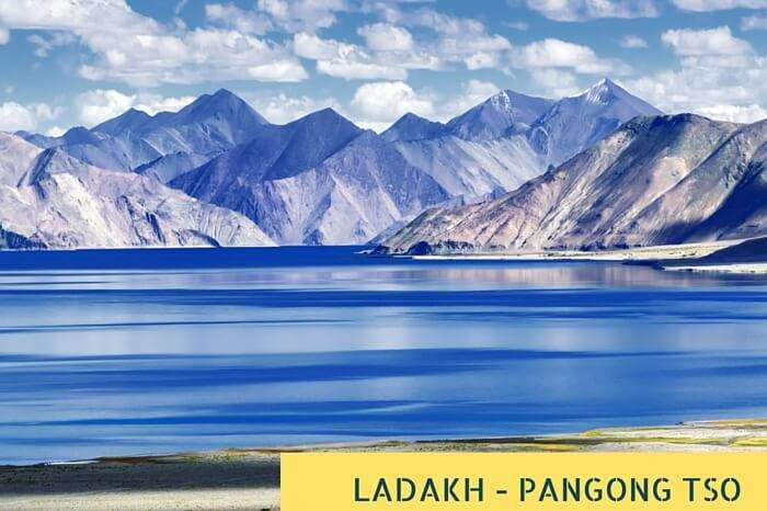 Mountains and Pangong Tso Lake at Ladakh