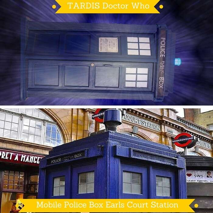 TARDIS from Doctor Who and the real mobile police box at Earls Court Station