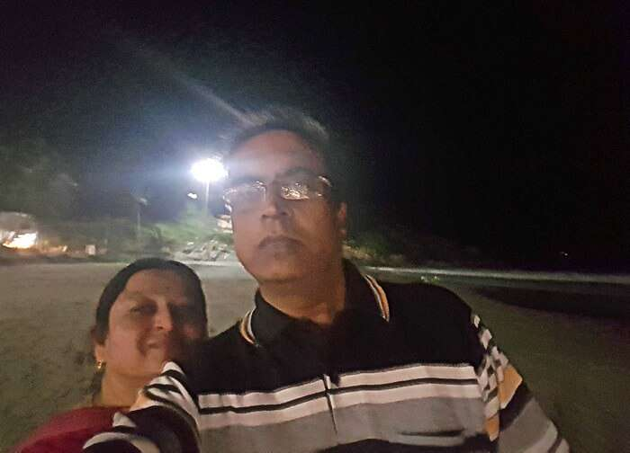 Mohan's selfie with his wife in Kerala