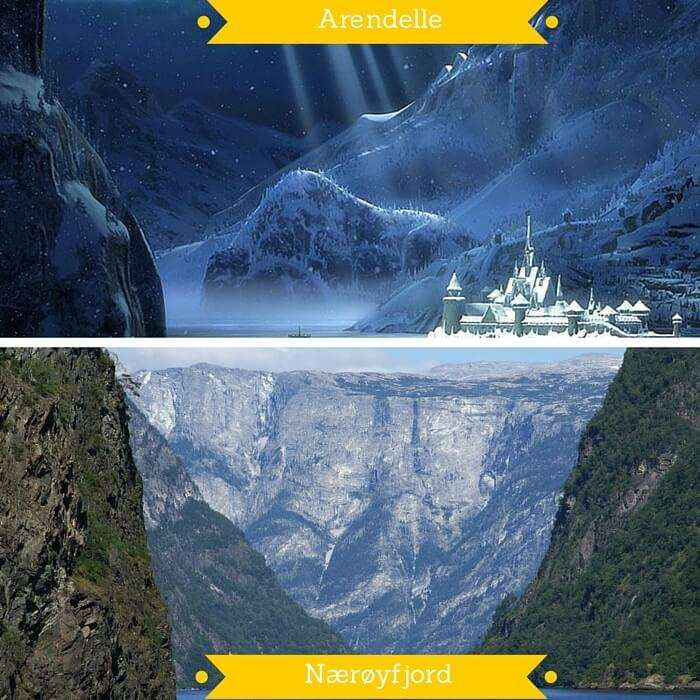 The Kingdom of Arendelle from the movie Frozen and Nærøyfjord in Norway on which it is based