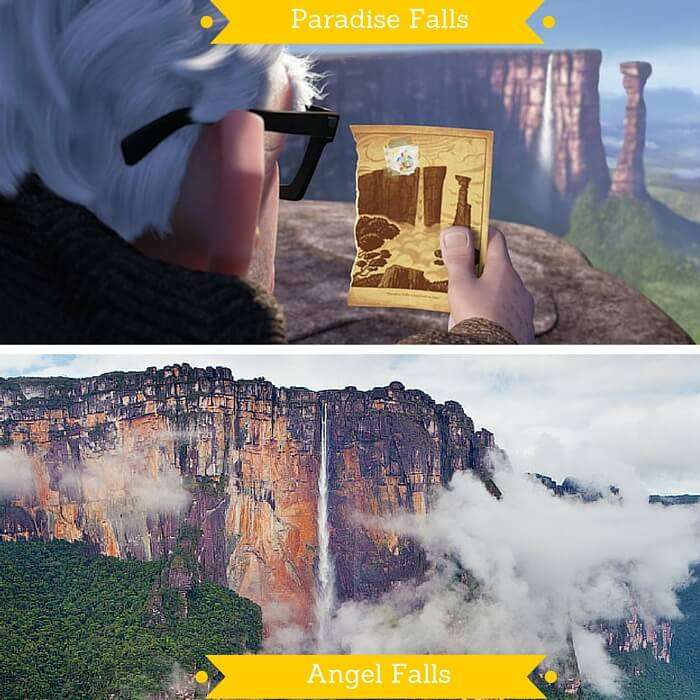 The Paradise Falls from the movie U and Angel Falls in Venezuela on which it is based