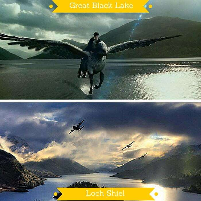 Harry riding on Buckbeak over Great Lake and aeroplanes flying over the Loch Shiel that inspired the shot