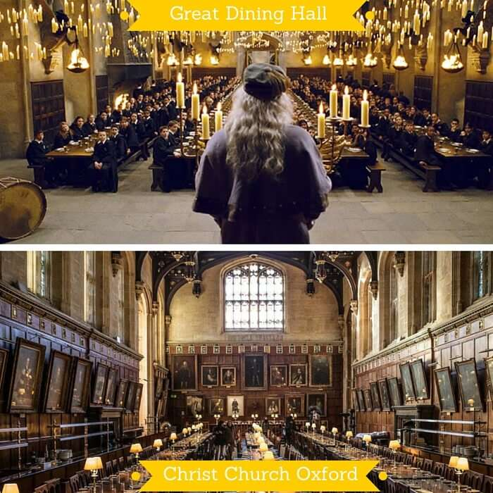 The Great Dining Hall at Hogwarts and the great hall from Christ Church in Oxford where it was shot