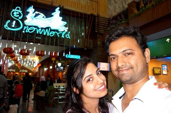 Bhargav and his wife in Snow World in Genting Island