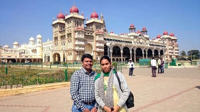 Naveen and his wife in Mysore Palace
