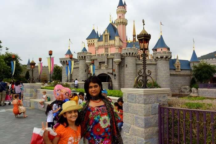 Samika and her mother in Disneyland in Hong Kong