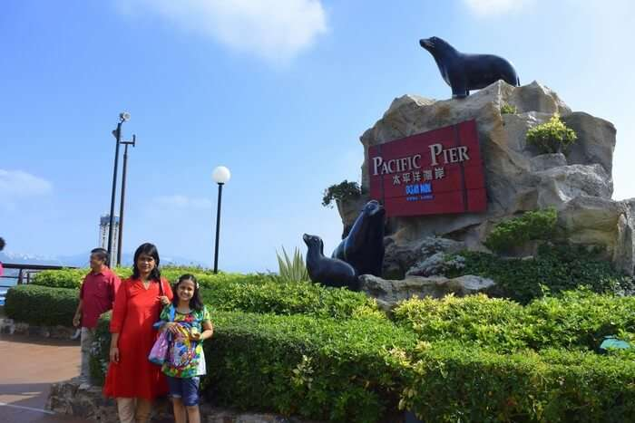 Samika and her mother at the Ocean Park in Hong Kong