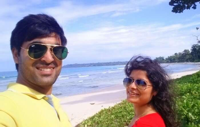 Abhinav and his wife on their first day in Andaman