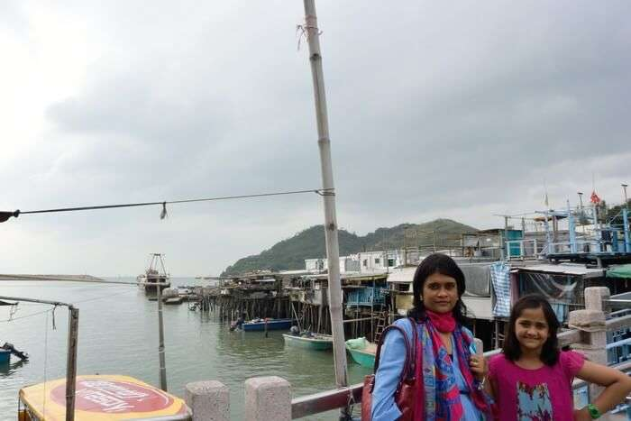 Saurabh's wife and their daughter Shamika at the fishermen's village in the Lantau Island