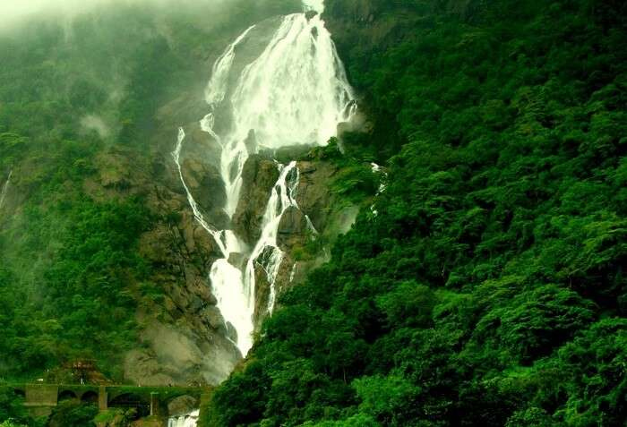 Three-streamed and four-tiered Dudhsagar Waterfall at its milky white best