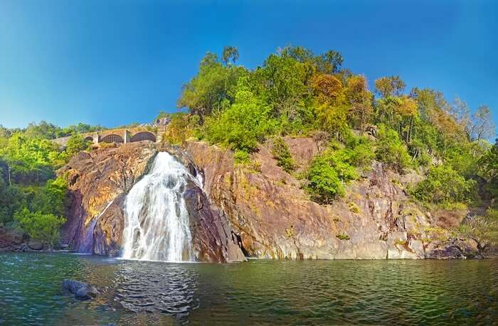The green lake was said to be the associated with the legends of Dudhsagar Waterfall