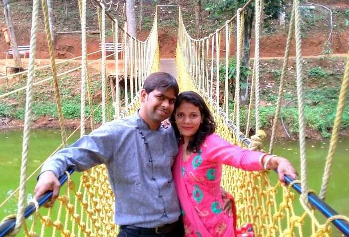 Vishu and Prachi at the Dreamsland Spice Park in Munnar