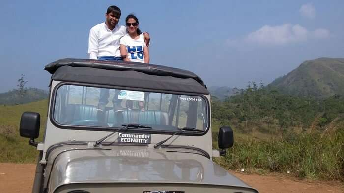 Vishu and Prachi at the Wildlife Safari at the Periyar Wildlife Sanctuary