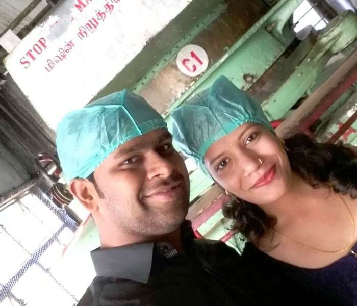 Vishu and Prachi at the Tea factory