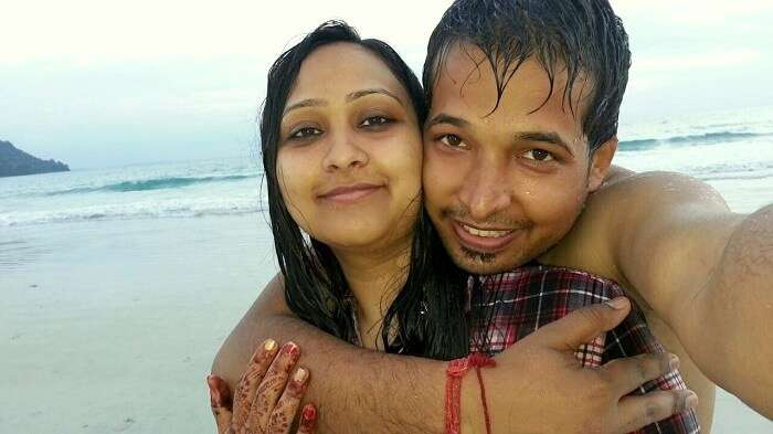 Agam and his wife on the beach