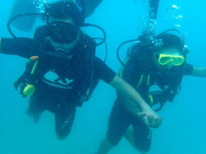 Agam and his wife doing scuba diving