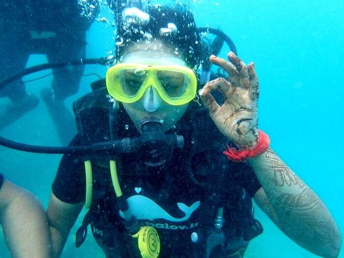 Agams wife doing scuba diving in Andaman