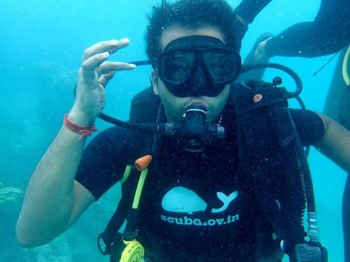 Agam doing scuba diving