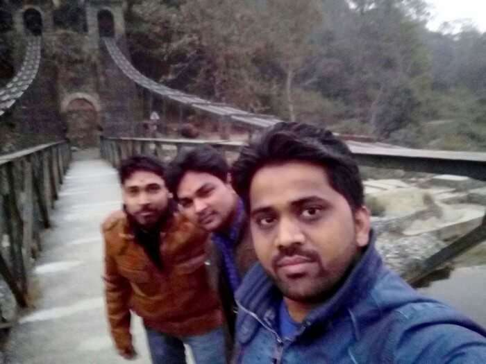 Rajveer and his friends at the Jhoola near Garjiya Devi Temple