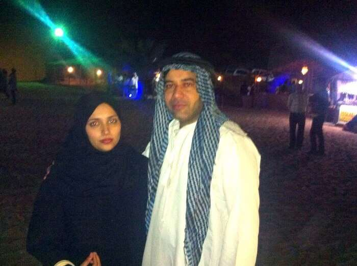 Kapil and his wife in an Arab-attire