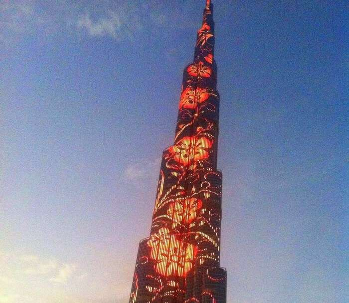 The beautifully lit Burj Khalifa in Dubai