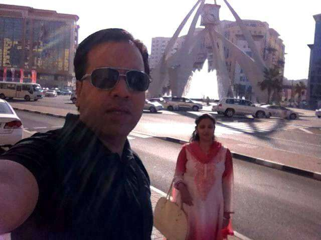 Kapil and his wife in the Deira area in Dubai