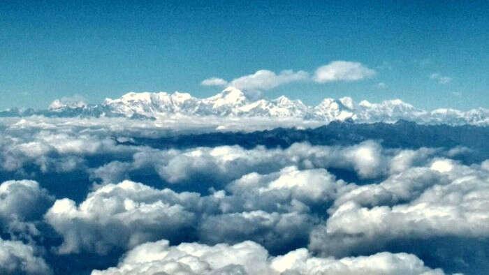 Snow capped mountains in Paro Bhutan