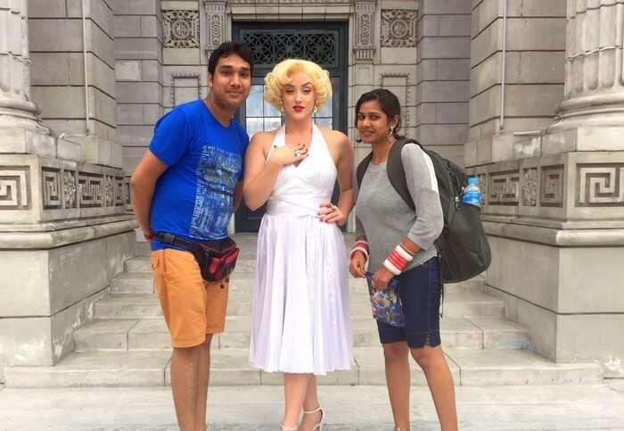 Kavya and Ram with Marilyn Monroe lookalike