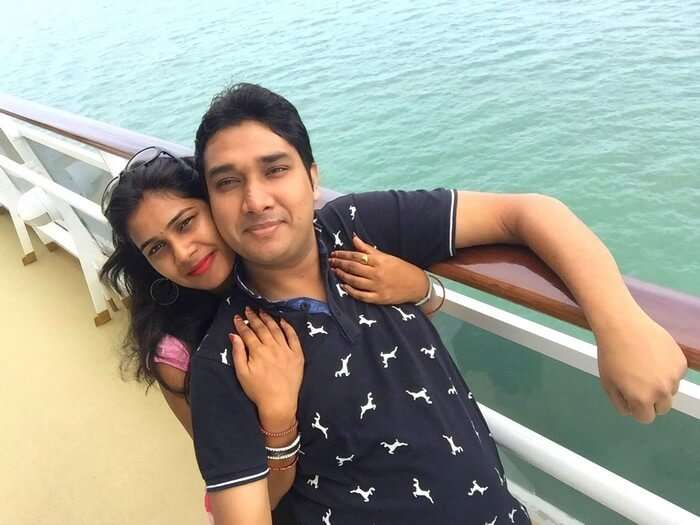 Ram and Kavya on Star Cruise on their honeymoon in Singapore
