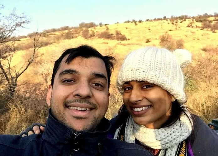 Rahul and his wife click a selfie in Ranthambore