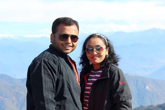 Alpana and her husband in Bhutan