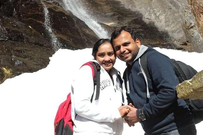 Alpana and her husband in Punakha