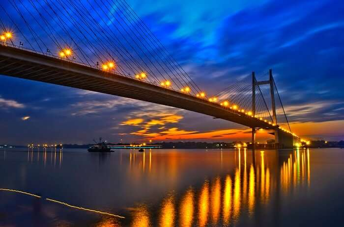 The Howrah bridge in Kolkata as seen during sunset