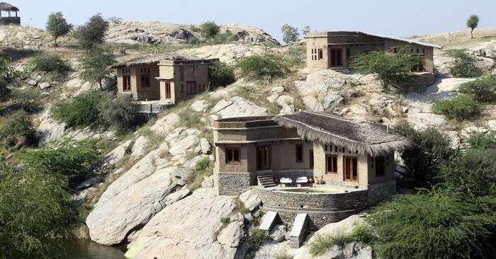 Cottages of Lakshman Sagar are spread over 32 acres of the hills