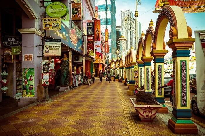 Colorful façade of Little India of Brickfields attracts many tourists in Kuala Lumpur