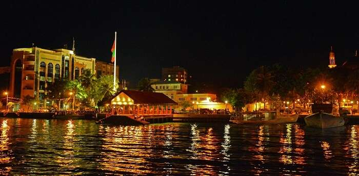 The colorful waters on a beautiful night at Malé