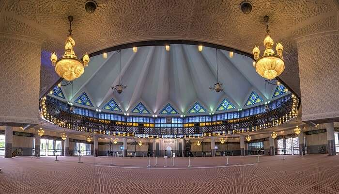 Marvelous interiors of National Mosque of Malaysia in Kuala Lumpur