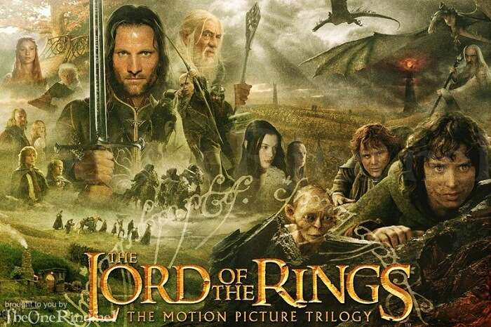 A poster of the Lord Of The Rings Trilogy